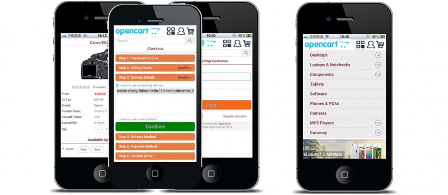 Hecart profession mobile website (VQMOD) For OpenCart