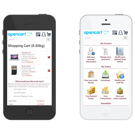 Hecart profession mobile website store (VQMOD) For OpenCart