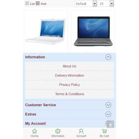 Perfect mobile website store (VQMOD) For OpenCart V2